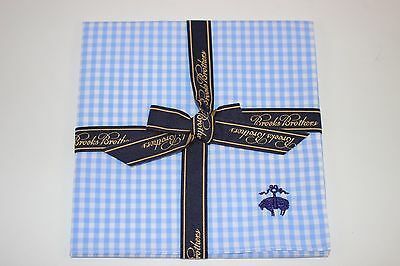 NWT BROOKS BROTHERS Men's Blue White Gingham Check 100% Cotton Pocket Square