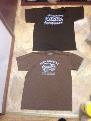 Lot Of Men's 2 Brown Graphic Funny Logo T Shirts Size M And 18-20