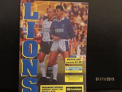 Millwall V Tranmere Rovers 1991/92 Matchday Programme