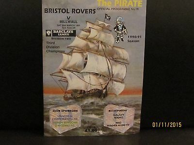 Tranmere Rovers V Millwall  1990/91 Matchday Programme
