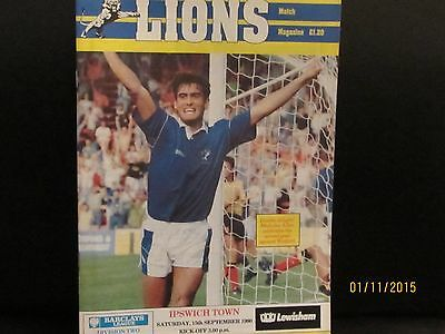 Millwall V Ipswich Town  1990/91 Matchday Programme