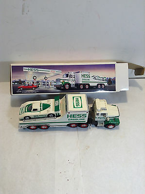 1988 Hess Toy Truck Car Carrier and Racer Car