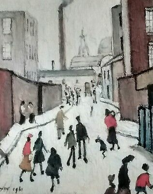 """L S Lowry signed limited edition print """"Street Scene Near A Factory """""""