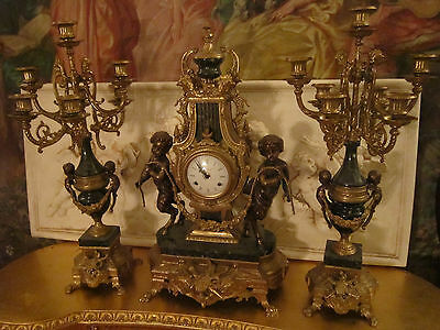French Neoclassical Figural Putti Bronze/Marble 3 pc mantel  clock set
