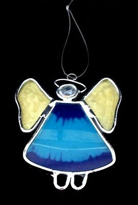 Vintage Hand Painted Hanging Angel Stain Glass Sun Catcher Blue Body Tan Wings