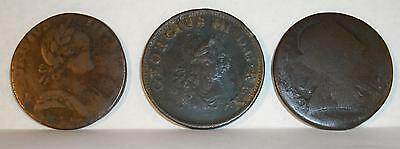 Copper Colonial Coins Georgius Iii Lot Of 3