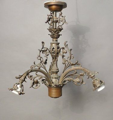 Antique Nice quality Victorian American Cast Iron 3 arms Chandelier