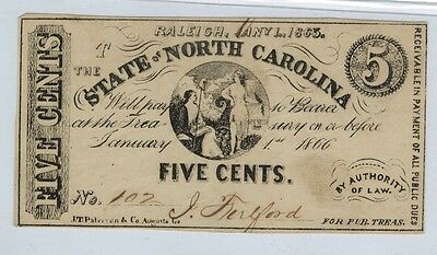 1863 STATE OF NORTH CAROLINA 5 Cents Obsolete Currency, Civil War Era