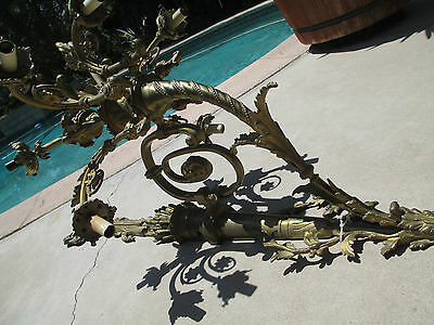 Antique Magnificent FRENCH NINE-ARM 10 lts GILT BRONZE Wall SCONCE chadelier