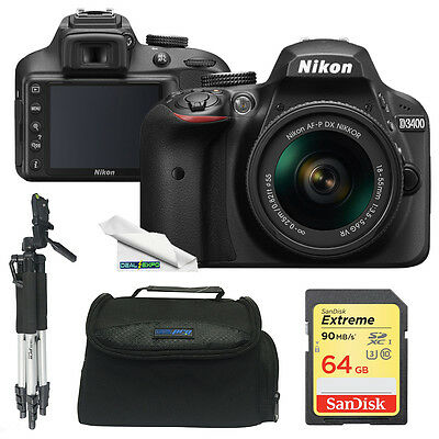 Nikon D3400 DSLR Camera with 18-55mm Lens (Black) + Essentials Bundle