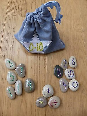 Hand painted number stones 0-10 unique, fun and educational