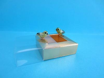 New Two Super Minis (Miniature) Green Lovebirds Figurines, Lovely With Box