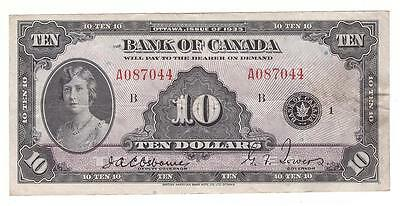 1935 Bank of Canada $10 Banknote Osborne A087044 Very Fine+ condition VF20+