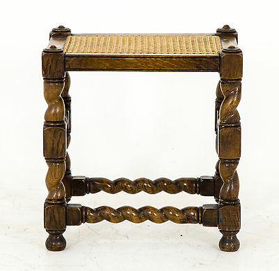 B441 Antique Oak Barley Twist Stool with Caned Top
