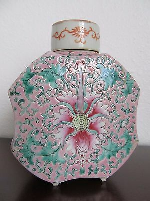 RARE Antique Chinese Porcelain PINK Pot with Lid-EARLY REPUBLICAN ERA- 1900's
