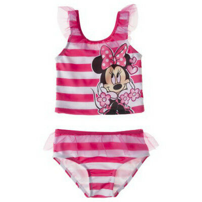Toddler Girls 4T Disney Minnie Mouse Pink White Striped Tankini Swimsuit Swim