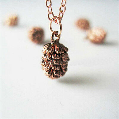 1 Pcs Small Pine Cone Vintage Alloy Chain Simple Design Charm Pendant Necklace