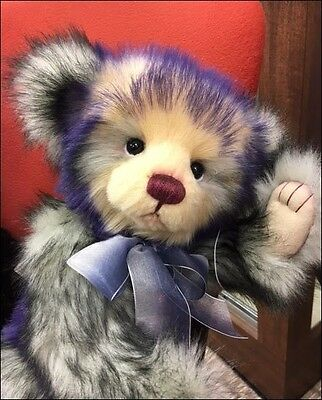 "Charlie Bears CANDY TEDDY CB104713 - 16"" Jointed, Purple-Tipped Plush - NEW!"