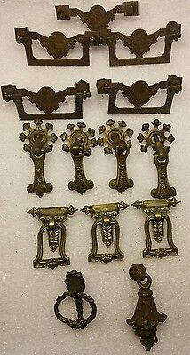 Victorian style Drawer Pull Hardware Vintage Brass Dresser Furniture Handle