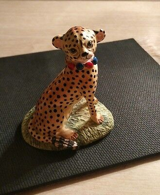 Basil Matthews Hand Painted Figurine African Cheetah Cat, Signed