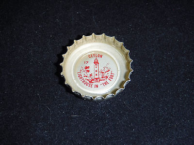 """1962 """"Tour the World"""" Coca Cola Bottle Cap - #17 Ceylon, Lighthouse in the Fort"""