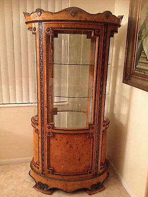 Antique French Style Oval Curio Cabinet with Bronze Decorations