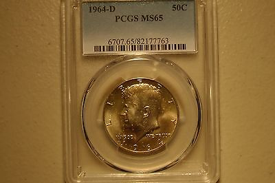 1964-D 50C Kennedy Half Dollar Pcgs Ms65
