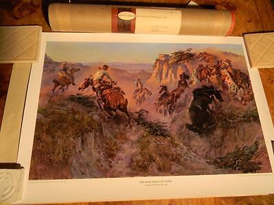 The Wild Horse Hunters by Charles M. Russel; Vintage Amon Carter Print; 1961 Box
