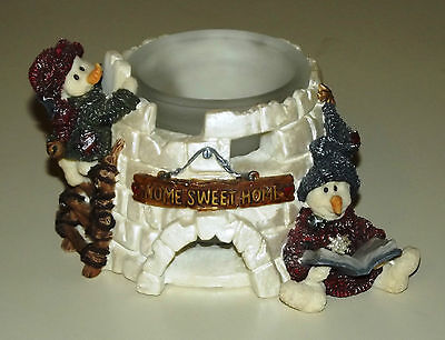 "Snowmen w/ Igloo Votive Holder Boyds Bears Folkstone ""Nome Sweet Home"" VGC NR"