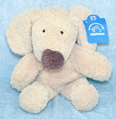 "Applause Dixie Puppy Dog 12"" Plush Tan Brown Nose Floppy Stuffed Animal Vtg Tag"