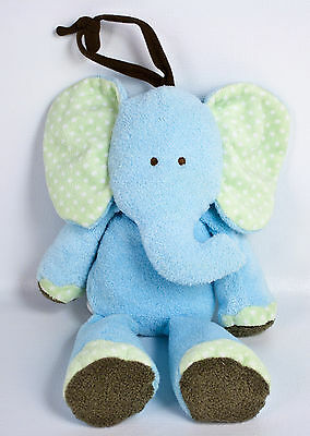 Carters Just One Year Elephant Plush Blue Green Dots Crib Musical Brahms Lullaby