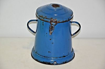 1920 Antique Rare Hungarian Bonyhad Enamel Blue 5L 6530 ??? Pot