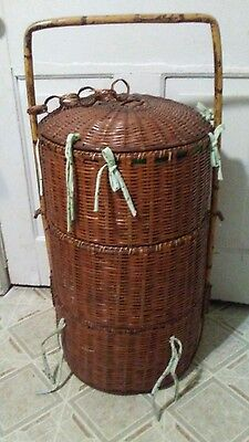 Vintage Very Large Bamboo Chinese Wedding Basket Three Tier Lined Tied Bows Old