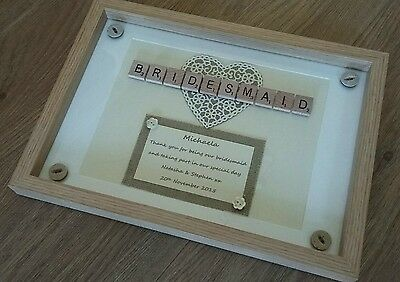 Personalised Bridesmaid thank you gift Rustic Wedding Scrabble tile frame