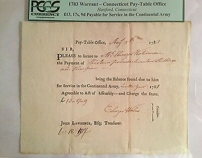 1783 Warrant-Connecticut Pay-Table PCGS £13,17s,9d. For Service Continental Army