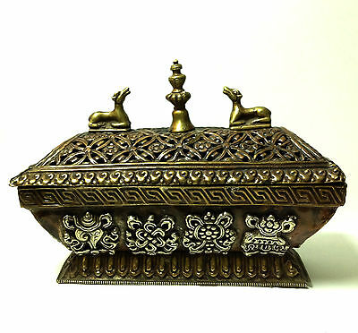 Antique Tibetan Box Asian Metal Symbol Medalion Traditional lid RARE Collectable