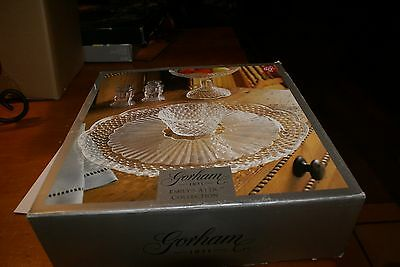 "Gorham Crystal EMILY'S ATTIC 13"" CHIP N DIP PLATE ~ NEW In Box"