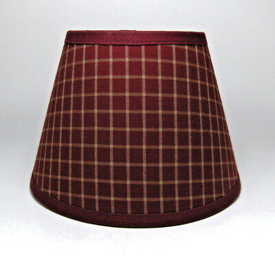 Country Primitive Burgundy Plaid Window  Homespun Fabric Lampshade Lamp Shade