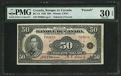 "Canada #bc-14 ""french"" $50 1935 Series - Osbourne Towers - Pmg 30 Epq Vf Wlm2801"