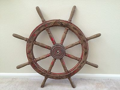 """Antique 38"""" Maritime Ship Wheel Nautical With Wax Seal From Chinese Fishing Boat"""