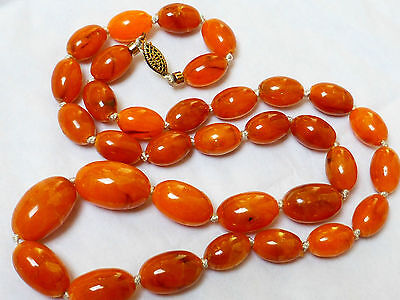 Antique Butterscotch Egg Yolk Amber Oval Beaded Necklace 32 grams Sterling Clasp