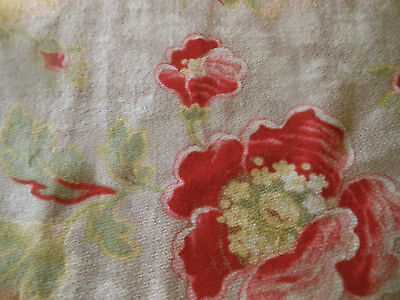 Antique French Art Nouveau Poppy Floral Cotton Fabric ~Strawberry Red Pink Green