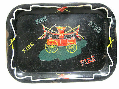 Vintage Antique Fire Trucks Wagon Metal TV Tray