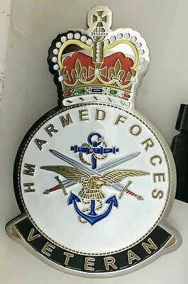 Veterans style car grille mascot badge. Army, Navy & Royal Air Force , Military