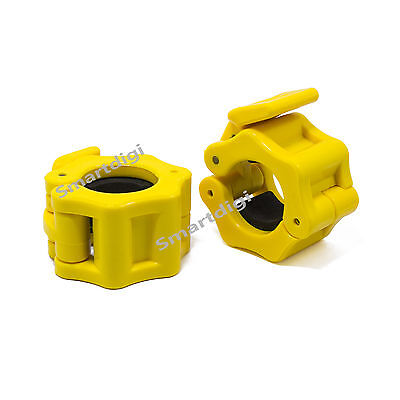25mm Pair Weight Lifting Bar Gym Standard Barbell Lock Clamp Collars 1'' Yellow