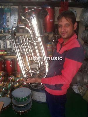 Tuba in Silver Chrome  E Flat Biggest Tuba Low Pitch With Free Case & Mouth pc.