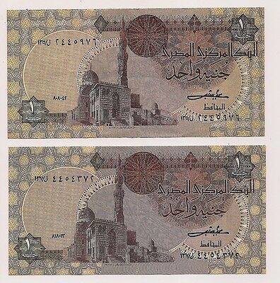 June 3,1984 Central Bank of Egypt 2 One Pound Banknotes--Excellent Condition!!