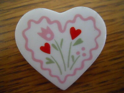 "Heart and Flowers Hallmark Cards 1.25"" Ceramic Shaped pinback button"