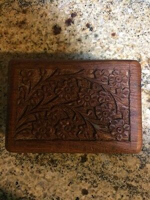 "Vintage Wooden Carved Trinket Box From The 70's - Size 5"" X 3 1/2"" X 2 """