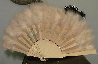 Antique Cantonese French 1800's Hand Fan SILK Floral Feathers Carved